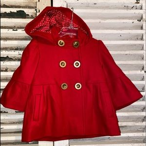 Red Gorgeous Hoodie Coat With Unique Sleeves